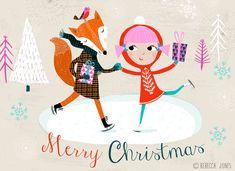 Skating - drawn by Rebecca Jones - Merry Christmas