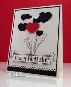 Details and video tutorial:  http://www.catherinepooler.com/2012/01/fashionable-heart-embosslit-birthday-card/ Fashionable Hearts Embosslit Stampin' Up Take It to Heart Stamp Set  Birthday Card