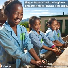 """Water is just the beginning because... it stops disease spreading:    """"Before, we had a very poor toilet, and we did not even have water to wash our hands after. Now, we have an improved toilet, a shower and pumps to wash our hands as often as we want."""" - schoolgirls in Madagascar.    Did you know, handwashing with clean water and soap can halve the risk of diarrhoea?    Way 1 of WaterAid's #20ways that water changes lives, counting down to World Water Day, 22 March 2013."""