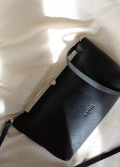Women's Handbags, Oslo, Clutch Bag, Black Silver, Shoulder Strap, Pocket, Elegant, Metal, Leather