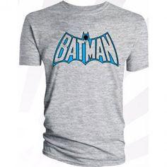 Men's Batman Logo Grey Retro Style T-Shirt