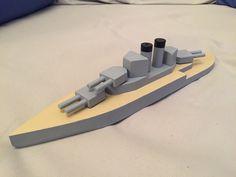 Wooden toy battleship