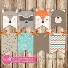 Kit imprimible personalizado animales del bosque encantado Wild One Birthday Party, 1st Birthday Girls, Woodland Theme, Woodland Baby, Shower Bebe, Baby Boy Shower, Diy Paper, Paper Crafts, Party In A Box