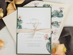Cactus wedding Invitations - Blush and green desert invitations - destination wedding - Elegant invites