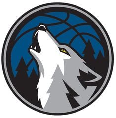 Minnesota Timberwolves Alternate Logo (2009) - A wolf head howling with a blue basketball in the background