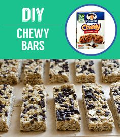 chocolate-chip-granola-bars - Soft and chewy! Just like the Quaker lunch box bars. Try to stir in the chocolate chips as they fall off the top when you eat them Chocolate Chip Granola Bars, Chewy Granola Bars, Homemade Granola Bars, Chocolate Chips, Best Granola Bars, Boite A Lunch, The Best, Snack Recipes, Bar Recipes