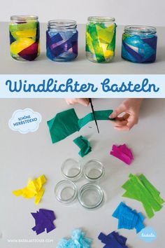Basteln mit Kindern DIY: The lantern made of jam jars is the classic from kindergarten days, which i Diy And Crafts, Arts And Crafts, Paper Crafts, Jar Lanterns, How To Make Lanterns, Creation Deco, Christmas Crafts For Kids, Halloween Diy, Kids And Parenting