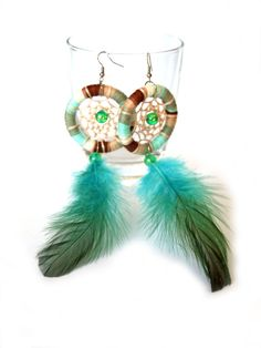 Dreamcatcher EarringsFeather EarringsSummer by Sweetaffairsx, $12.00  Love those colors! Also the idea of a dreamcather...