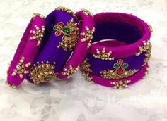Handcrafted pure raw silk bangles set