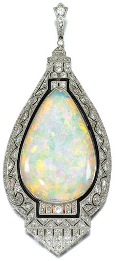 Art Deco Opal And Diamond Pendant With Enamel Or Onyx Border