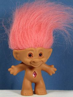 Troll Doll Pink Hair Eyes Diamond Shaped Wish Stone 4 Tall Made By Treasure