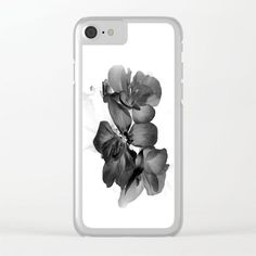 Black Geranium in White Clear iPhone Case by ARTbyJWP from Society6 #phonecase #clearcases #iphonecase #blackandwhite #floral ---   Shop clear iPhone cases featuring brilliant patterns and designs on frosted, transparent shells - created by the world's best independent artists.