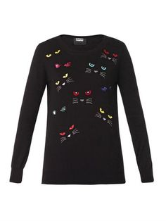 Natalie Evil Cat embroidered sweater   Markus Lupfer   MATCHES...