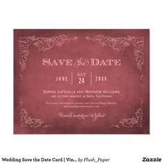 Wedding Save the Date Card | Vintage Wine This formal wedding save the date announcement card with an aged vintage wine label style design. Rustic hand-drawn sketches of grapevine leaves frame the important details. A simple flourished monogram appears on the reverse side. Dark aged red and blush pink color scheme.