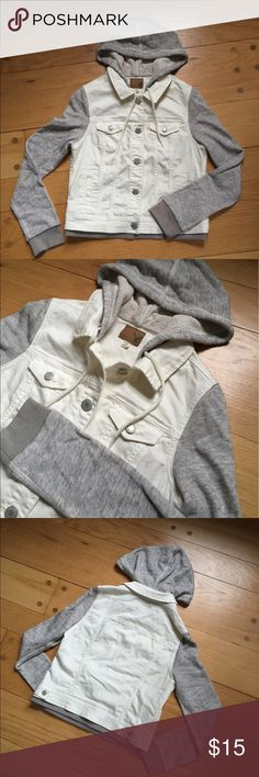 American eagle jean jacket size M American eagle women's Jean jacket with hoodie attached. Super cute white and grey. In great condition except small spot as shown in photo that you can barely see!! American Eagle Outfitters Jackets & Coats Jean Jackets