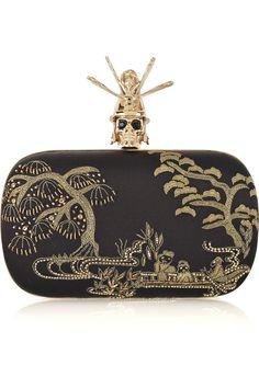ALEXANDER MCQUEEN Oriental Samurai Skull silk-satin box clutch