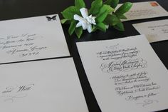 southern wedding - calligraphy invitation
