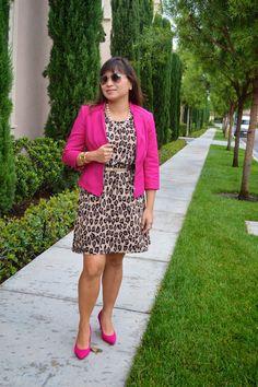 Leopard Dress with Pink Blazer