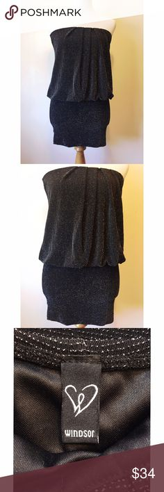 Windsor Sparkly Black Dress Trendy Sparkle Black Dress! This dress is so comfortable + looks fabulous on! Please feel free to ask any questions! No stains, rips + smoke free home 🚭 NWOT ♥️ WINDSOR Dresses Mini