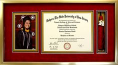 Diploma collage with graduation photo and tassel, displayed in a gold shadowbox with suede red, black, and gold custom cut mat boards.