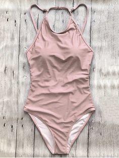 Open Back High Neck One Piece Swimsuit - PINK L #style#swimsuit#womensfashion #swimwear
