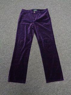 LAUREN RALPH LAUREN Eggplant Purple Cotton Blend Straight Leg Pants Sz 8 SM7905 #LaurenRalphLauren #CasualPants $14.70