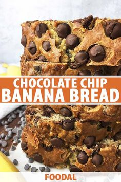 You can never have too many quick bread recipes especially with our homemade chocolate chip banana bread The sweetness is subtle which makes it perfect for breakfast dess. Best Bread Recipe, Quick Bread Recipes, Banana Bread Recipes, Fudge Recipes, Sweet Recipes, Easy Recipes, Hot Chocolate Fudge, Homemade Chocolate Chips, Chocolate Chip Banana Bread