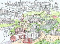 Drawing of East Village, London. by Abigail Daker