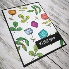 I love you card with My favorite things stamps set and distress oxide