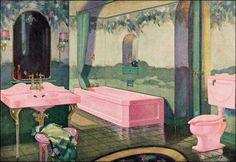 opulent vintage bathroom | Opulent Pink Fixtures & Painted Wall Mural