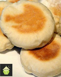 English Muffins. Perfect served warm with some butter! You can eat these delights sweet or savoury, the choice is yours! (I like strawberry jam on mine!)   #breakfast #English #muffins