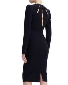 Alexander McQueen Slit-Bodice Long-Sleeve Leaf Crepe Dress - Bergdorf Goodman
