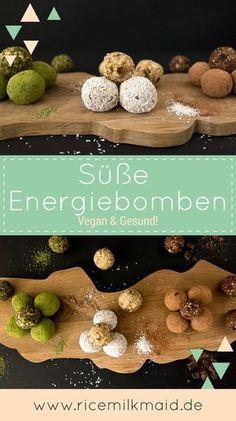 Süße Energiebomben - komplett vegan. Das Grundrezept besteht aus nur 3 simplen Zutaten! Mega lecker und geben einen richtigen Wachmackerkick. Diese veganen Energiebomben machen sich auch super als Geschenk. ♥️| Ricemilmaid Blog
