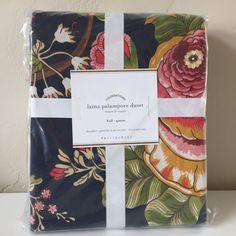 POTTERY BARN LAINA PALAMPORE FULL/QUEEN DUVET COVER NEW BLUE NAVY FLORAL SPRING #PotteryBarn #Contemporary