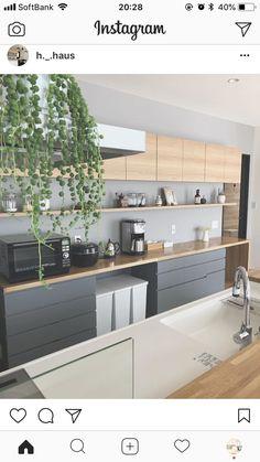 \\ my home diary //さん( Kitchen Furniture, Kitchen Interior, Kitchen Decor, Kitchen Design, Luxury Kitchens, Home Kitchens, Inside Kitchen Cabinets, Kitchen Images, Open Plan Kitchen