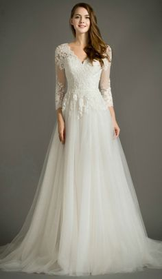 Feminine A-Line V-Neck Sweep Train Tulle Wedding Dress With Appliques Lace. Perfect for Older Bride, Plus Size Bride, Beach Wedding. Custom made-to-order Wedding dress by GemGrace. Multiple colors and all sizes available. Additional photos also available upon request.