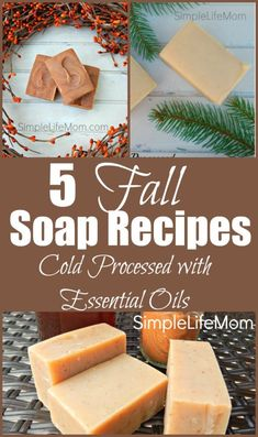 5 Fall Soap Recipes (Tallow or Vegan with Palm 5 autumn soap recipes from Simple Life Mom with essential oil blends Handmade Soap Recipes, Soap Making Recipes, Handmade Soaps, Diy Soaps, Lye Soap, Soap Molds, Castile Soap, Glycerin Soap, Palmiers