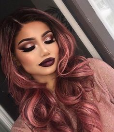 Rose Gold Hair Hair Color The most beautiful hair ideas, the most trend hairstyles on this page. Cabelo Rose Gold, Gold Hair Colors, Magenta Hair, Dark Pastel Hair, Rose Gold Balayage Brunettes, Hair Colour Ideas For Brunettes, Pink And Black Hair, Burgundy Hair, Hair Dye Colors
