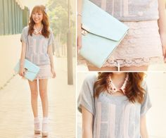 """Awww this is adorable!! The lace skirt, the """"Hug Me"""" sweater, and pastel green clutch"""