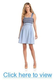Donna Morgan Women's Denim Color Block Bodice Dress