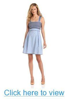 Donna Morgan Women's Denim Color Block Bodice Dress