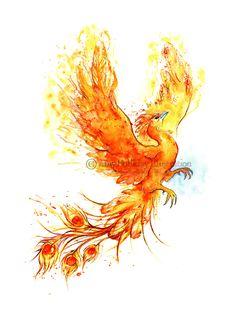 Lady Luxce's Aeon: Phoenix!  Amy Holliday Illustration: Tattoo: A Phoenix Risen!