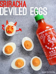 Sriracha Deviled Eggs : so good! Steve and I loved these.  Needed to make a different batch for the kids, but there's nothing I would change about this recipe.