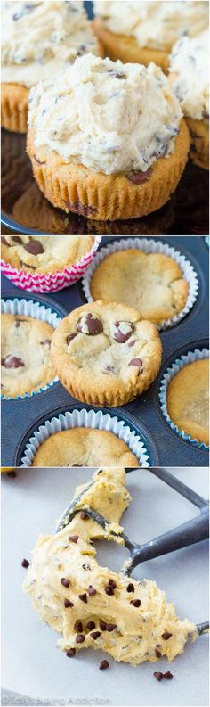 Soft-baked chocolate chip cookie cups piled high with egg-free cookie dough frosting! These are always a huge hit.