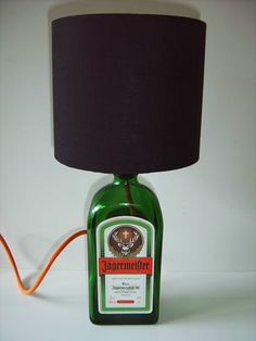 Lamp made from an old Jagermeister bottle with a matching orange power flex.