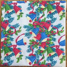 Red-Blue-and-Green-Bells-Holly-Fir-Post-WWII-Vintage-Christmas-Wrapping-Paper