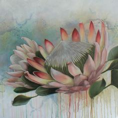 Protea Art, Protea Flower, Watercolor Flowers, Watercolour, Blue Flower Wallpaper, Abstract Flower Art, Flower Artists, Floral Drawing, Plant Painting