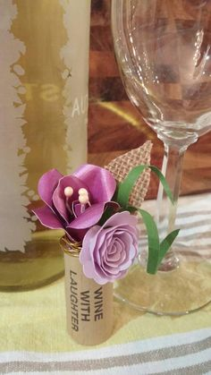 Wine cork boutonniere with handmade paper flowers & burlap leaf - unique men's wedding accessory perfect cor wine, vineyard wedding