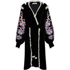 March11 Aliona Midi Velvet Wrap Dress ($2,450) ❤ liked on Polyvore featuring dresses, v-neck dresses, fur trimmed dress, v neck wrap dress, calf length dresses and wrap dress