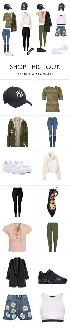 """Outfits w/ NY Yankees Cap"" by samsus ❤ liked on Polyvore featuring Topshop, adidas, Steve Madden, NLY Trend, Vero Moda, H&M, WearAll, NIKE, hats and cap"